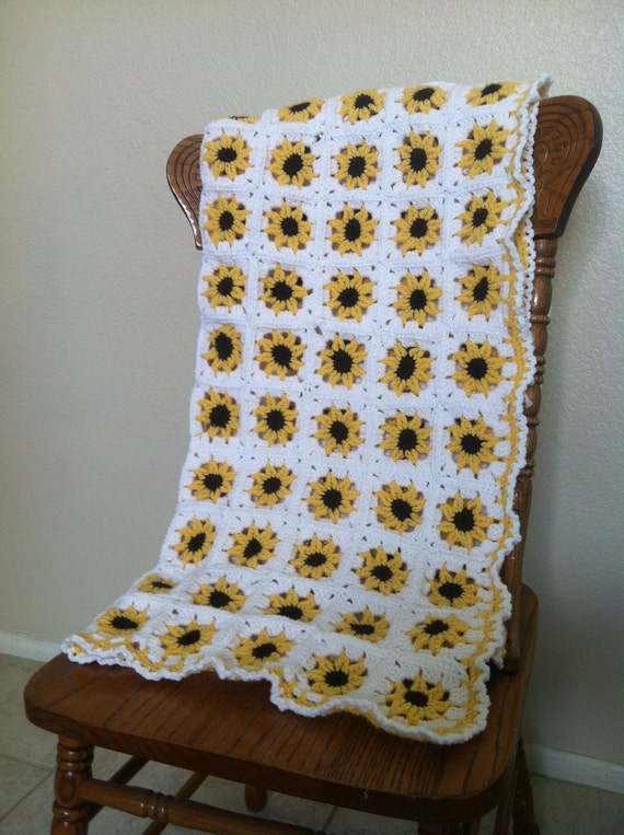 Adorable Yellow Sunflower Crochet Baby Blanket Afghan