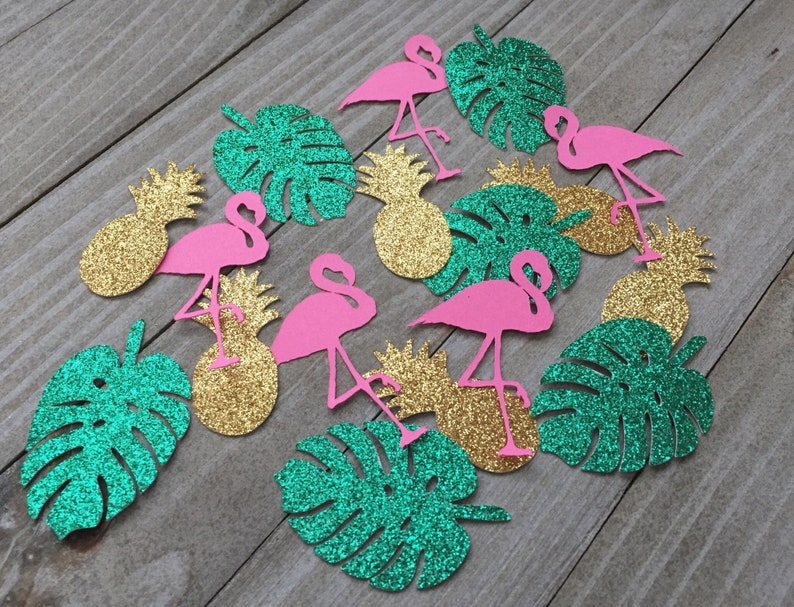 100 Tropical confetti pink flamingos pineapples tropical image 0