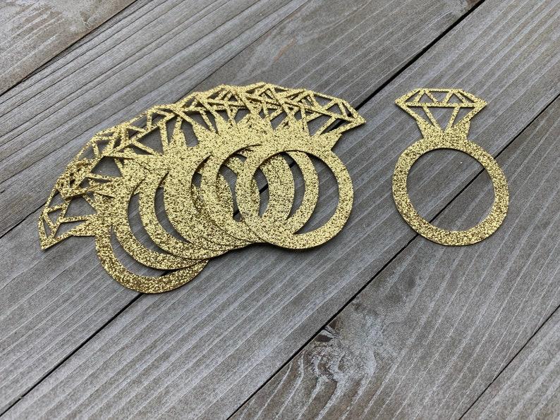 Ring Confetti Engagement Decorations Wedding Bridal Shower 50 Gold Glitter Diamond Ring Confetti Diamond Ring Bachelorette Party Decor