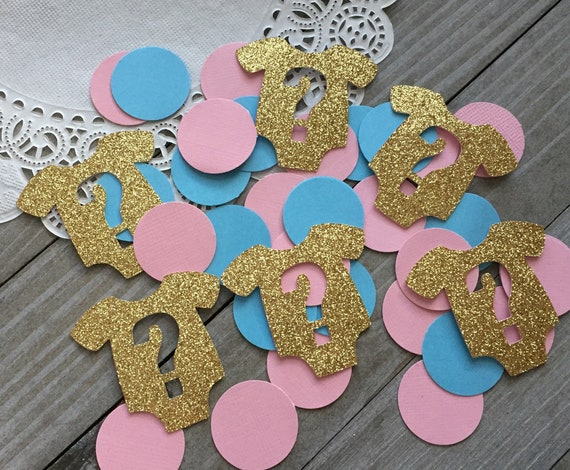 blue and pink circles gold glitter 100 gender reveal party decorations onesie with question marks baby shower decorations baby onesie
