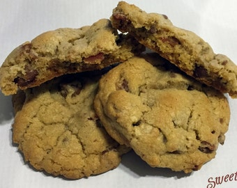 Maple Bacon Chocolate Chip Cookies- one dozen, fresh baked and delicious.