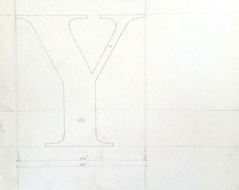 Letter Y, original font casting drawing, typographic drawing (the thumbnail cannot show the beauty of the drawing please view large).