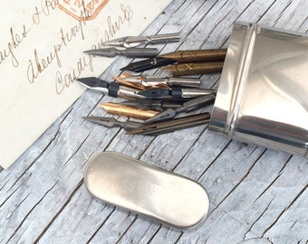 Collection of vintage and antique nibs. Gift set or starter set of 12 nibs with oblong tin container. (Circular tin sold).