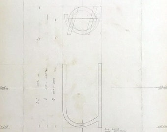 Original Linotype Industrial Font drawing. Lower case letter u with accents, 7pt Reference Condensed. British industrial history. 1967