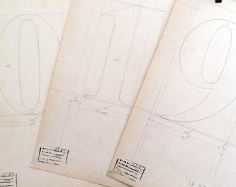 Numbers, 0-9 industrial drawings, original font casting drawing: Series 328. 1932. Listing is for one drawing.