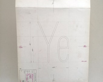 Letters Ye, industrial drawing, original font casting drawing, typographic drawing: Reference (Cond). 1974.