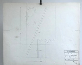 c/m symbol, 1971 original font typographic drawing, a piece of British Industrial history. Gift for a graphic designer or typographer.
