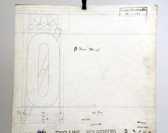 Original Linotype Industrial Font drawing. Capital O, Two Line Bourgeios. British industrial history. 1911