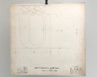 Letter U with accents, 1941 original font casting drawing, typographic drawing, type design. Collectable typography.