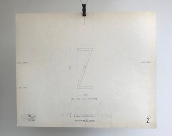 Letter Z, 1967 original font casting drawing, typographic drawing. Gift for a graphic designer or typographer.