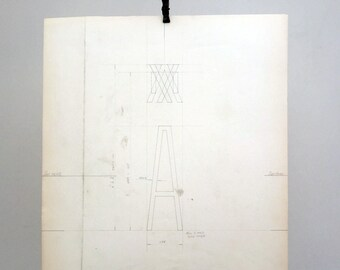 Letter cap A, industrial drawing, original font casting drawing, typographic drawing. 1967.