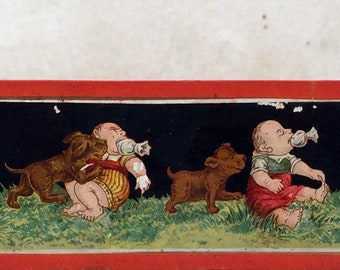 Antique magic lantern slides: puppy and baby. Collectable glass slides.