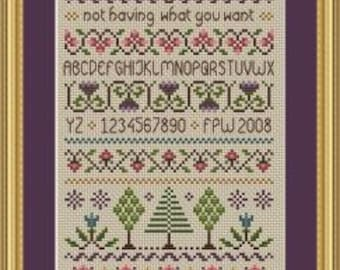 Happiness Cross Stitch Sampler PDF Chart INSTANT DOWNLOAD