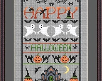 INSTANT DOWLOAD Happy Halloween Cross Stitch Sampler PDF Chart