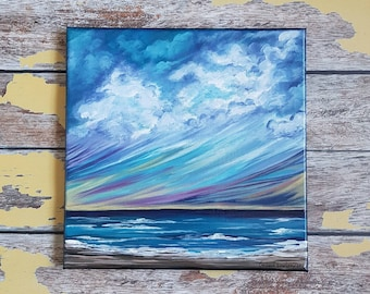 "Seascape Painting | Seascape Canvas Art | Beach Art | Coastal Painting | Landscape Painting | Original Art | 10x10 | ""Coming Home"""