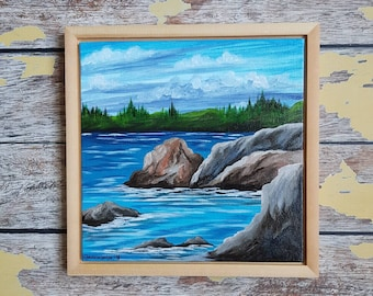 "Seascape Canvas Art | Coastal Painting | Ocean Art | Beachscape Painting | 8x8 Framed | ""Low Tide"" 