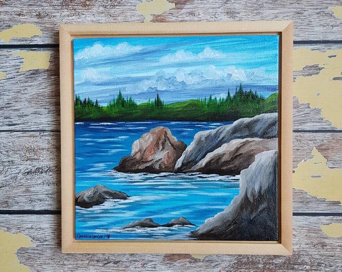 "Seascape Canvas Art | Coastal Painting | Ocean Art | Beachscape Painting | 8x8 Framed | ""Low Tide"" | Saltons Cove Studio"