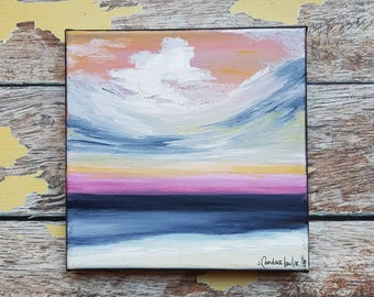 "Seascape Canvas Art | Coastal Painting | Ocean Art | Beach Decor | 6x6 | ""Windswept Shore"" | Saltons Cove Studio"