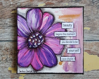 Original Floral Painting | Flower Art | Original 5x5 Canvas | Coco Chanel Quote | Pink Flower Painting | Miniature Painting | Beauty begins