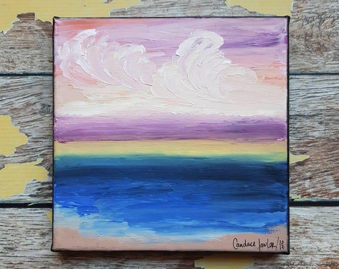 "Seascape Canvas Art | Coastal Painting | Ocean Art | Beach Decor | 6x6 | ""Amethyst Skies"" | Saltons Cove Studio"