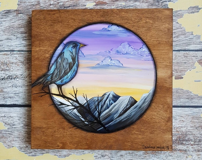 Bird Landscape Painting | Wildlife Art | Landscape Painting | 8×8 | Painting on Wood | Bird Art | Landscape Painting on Wood