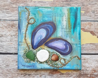 "Seashell Canvas Art | Mussel Shell Painting | Ocean Art | Beach Decor | 6x6 | ""Beach Treasure"" 