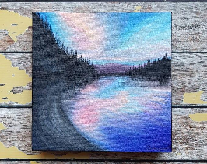 "Seascape Canvas Art | Coastal Painting | Ocean Art | Beachscape Painting | 8x8 | ""September Skies"" | Saltons Cove Studio"