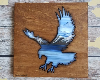 Eagle Silhouette Painting | Wildlife Art | Landscape Painting | 8×8 | Painting on Wood | Eagle Silhouette Art | Landscape Painting on Wood