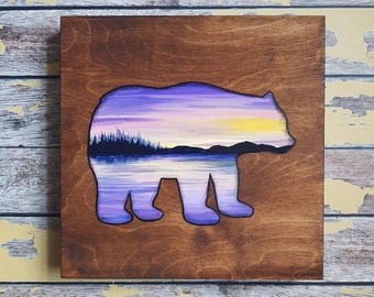 Bear Silhouette Painting | Wildlife Art | Landscape Painting | 12×12 | Painting on Wood | Bear Silhouette Art | Landscape Painting on Wood