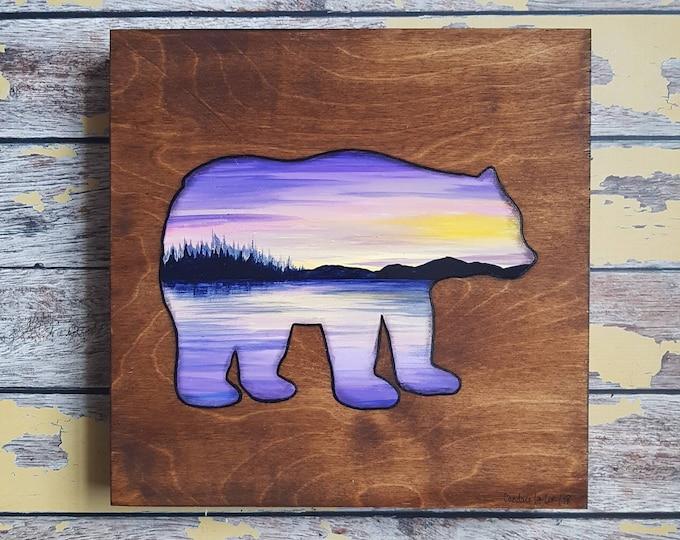 Bear Silhouette Painting   Wildlife Art   Landscape Painting   12×12   Painting on Wood   Bear Silhouette Art   Landscape Painting on Wood