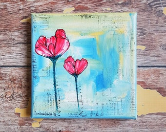 Original Floral Painting | Flower Art | 5x5 Canvas | Personalize with Your Favorite Quote | Turquoise Painting | Miniature Painting