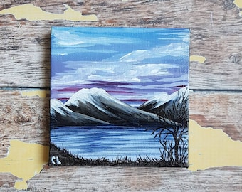 Miniature Mountain Painting | Magnetic Canvas Original Art | Landscape Painting | Mountain Art | Mountainscape | with easel | 4x4 inches