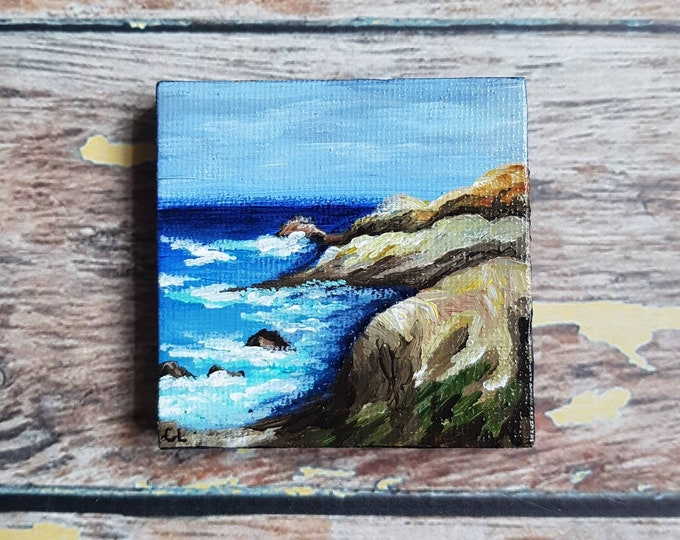 Miniature Seascape Painting | Magnetic Canvas Original Art | Landscape Painting | Beach Art | Coastal Decor | Fridge Magnet | 2.5x2.5""