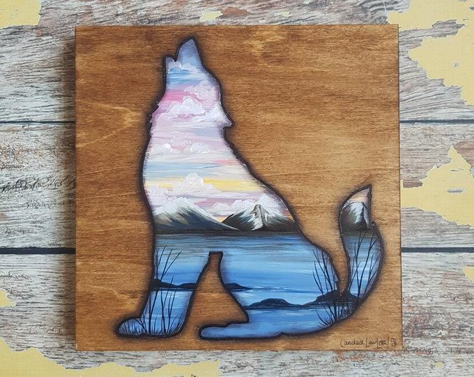 Wolf Silhouette Painting | Wildlife Art | Landscape Painting | 8×8 | Painting on Wood | Wolf Silhouette Art | Landscape Painting on Wood