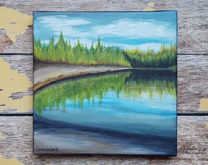 "Seascape Canvas Art | Coastal Painting | Ocean Art | Landscape Painting | Beachscape Painting | 8x8 | ""A Place for Reflection"""