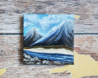 Miniature Mountain Painting | Magnetic Canvas Original Art | Landscape Painting | Mountain Art | Mountainscape | Fridge Magnet | 2.5x2.5""