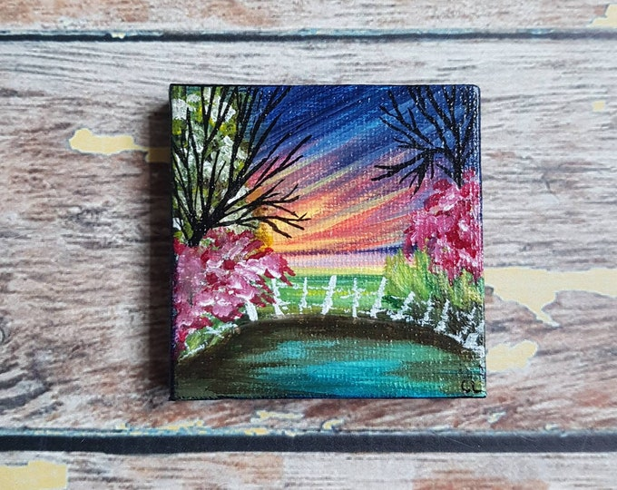 Miniature Garden Painting | Magnetic Canvas Original Art | Landscape Painting | Landscape Art | Secret Garden | Fridge Magnet | 2.5x2.5""