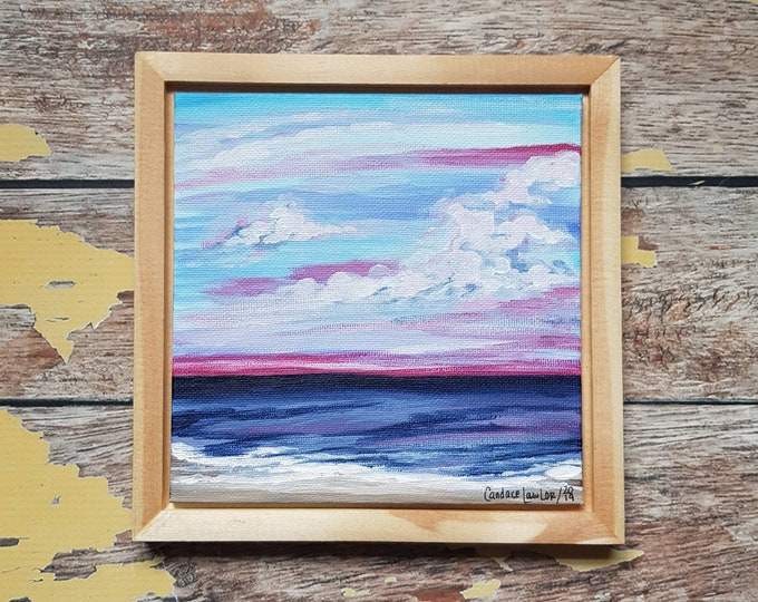 "Seascape Canvas Art | Coastal Painting | Ocean Art | Beach Decor | 6x6 | Framed Art | ""Longing"" | Saltons Cove Studio"