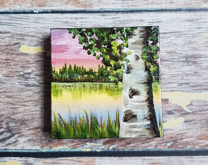 Miniature Birch Tree Painting | Magnetic Canvas Original Art | Landscape Painting | Landscape Art | Garden Pond | Fridge Magnet | 2.5x2.5""