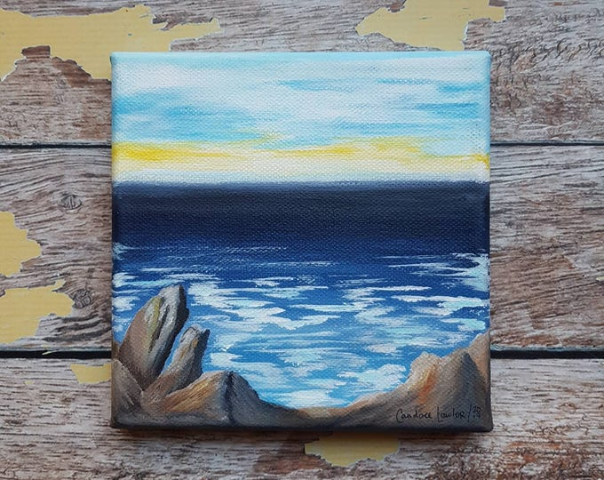 "Seascape Canvas Art | Coastal Painting | Ocean Art | Beachscape Painting | 6x6 | ""After the Storm"" | Saltons Cove Studio"