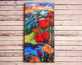 "Poppy Canvas Art | Landscape Painting | Poppy Art | Mountain Painting | 10x20 | ""Demeter's Gifts"" 