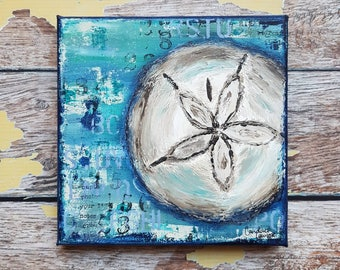 "Seashell Canvas Art | Sand Dollar Painting | Ocean Art | Beach Decor | 6x6 | ""Sand Dollar"" 