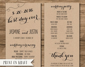 wedding program wedding ceremony program order of events etsy