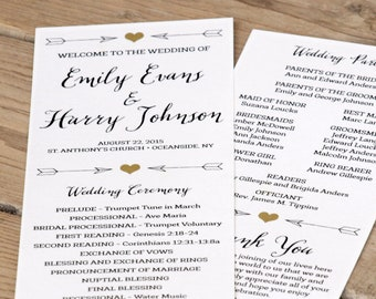 Rustic Wedding Program, Ceremony Program - PRINTABLE files - rustic wedding, garden wedding, arrows, heart, print on kraft stock - Emily