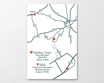 Custom Wedding Map Directions Locations Event Map Invitation Insert with a map Enclosure Card PRINTABLE file