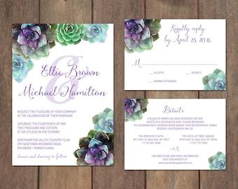 Succulent Wedding Invitation Suite, Garden Wedding, Rustic Wedding Invitation Set with Watercolor Succulents, Purple Succulents - Ellie