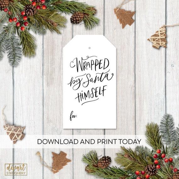 Christmas Gift Tag Template.Christmas Gift Tag Template Wrapped By Santa Tag Hang Tag Present Hang Tag Holiday Gift Tag Christmas Present Tag Pdf File Ct01
