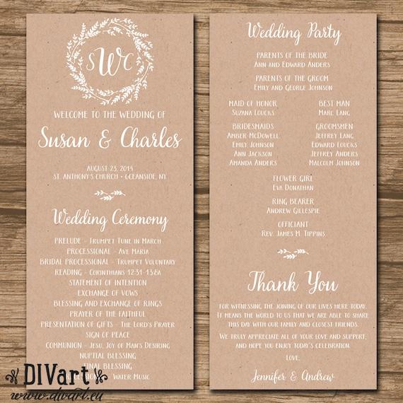 Rustic Wedding Program Ceremony PRINTABLE Files