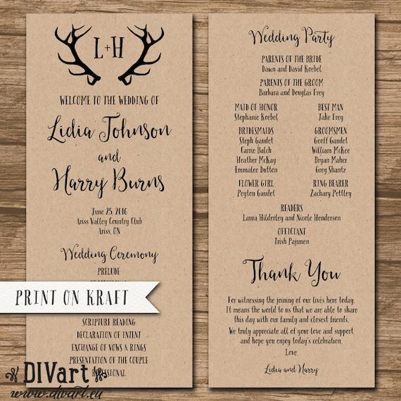 rustic wedding program order of ceremony ceremony program etsy