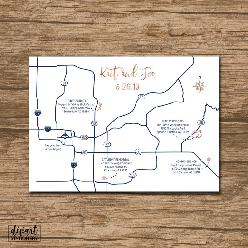 PRINTABLE file Enclosure Card Event Map Custom Wedding Map Locations Invitation Insert with a map Directions